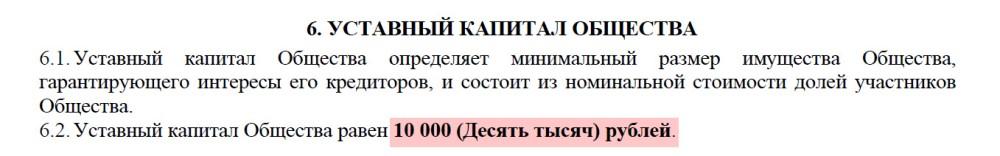 учредительный капитал в уставе ООО с одним учредителем
