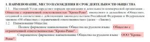заполняем устав ООО с одним учредителем